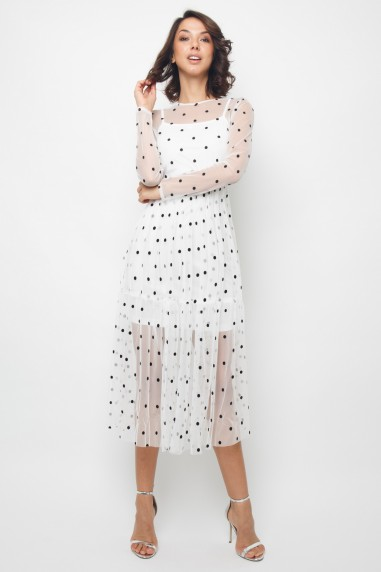 Lace & Beads Lola White Midi Dress