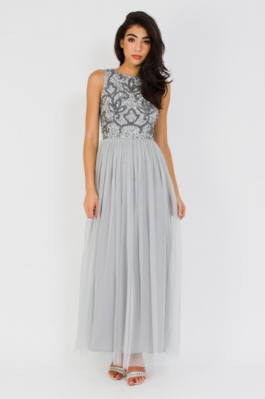 Lace & Beads Charme Grey Maxi Dress