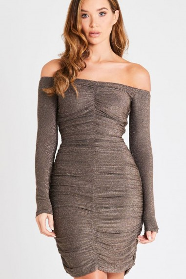 Skirt & Stiletto Mila Off Shoulder Metallic Ruched Mini Dress