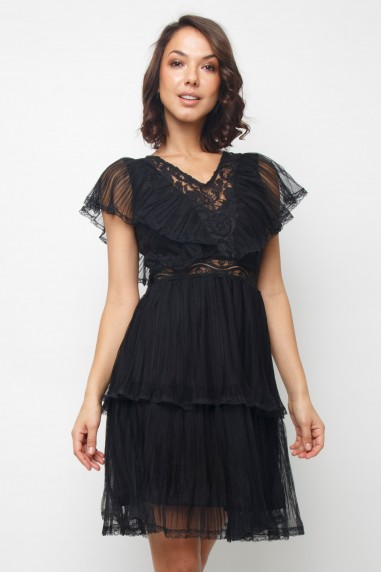 Lace & Beads Crimsin Black Dress