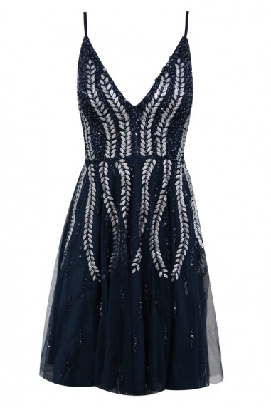 Lace & Beads Baroka Skater Navy Mini Dress