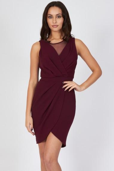 TFNC Adele Plum Sheer Wrap Dress