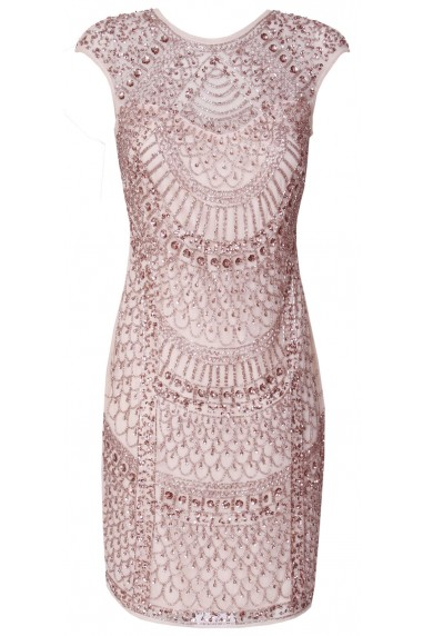 Lace & Beads Teardrop Pink Embellished Dress