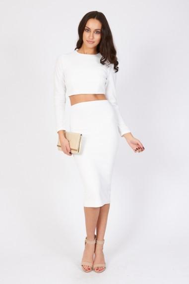TFNC Rika White Midi Skirt