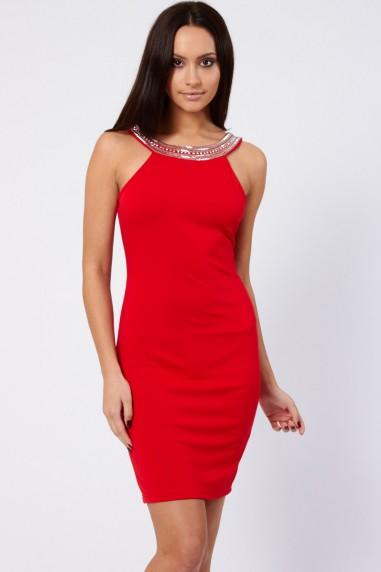 TFNC Riccocone Red Embellished Bodycon Dress