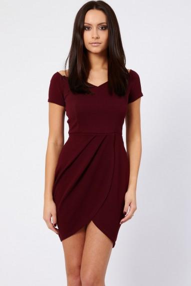 TFNC Carel Ox Blood Off Shoulder Dress
