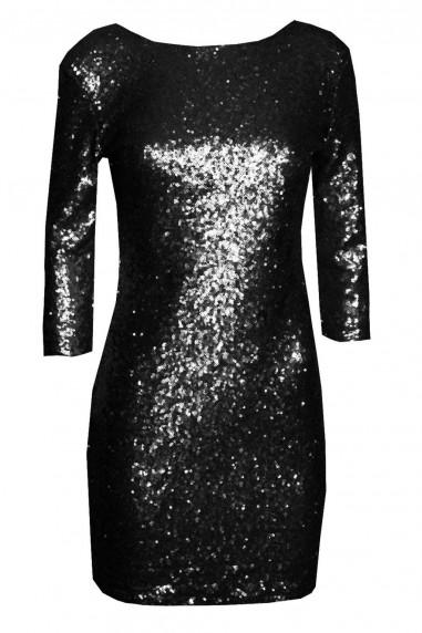 TFNC Paris V Back Black Sequin Dress