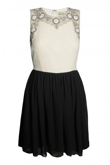 Lace & Beads Becky Cream & Black Dress