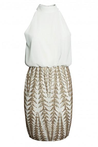 TFNC Raffella White Sequin Dress