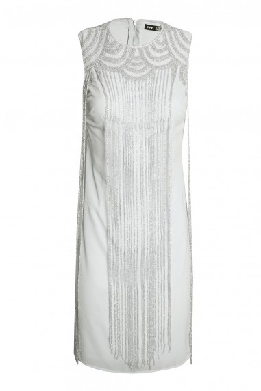 Lace & Beads Taylor Fringe Grey Embellished Dress