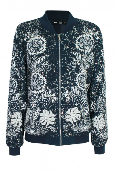 Lace & Beads Renee Navy Bomber Jacket