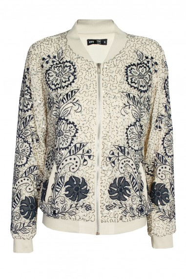 Lace & Beads Renee Beige Bomber Jacket