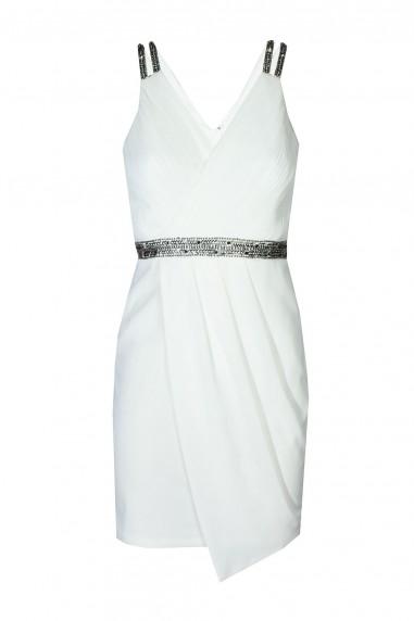 TFNC Layla White Embellished Dress