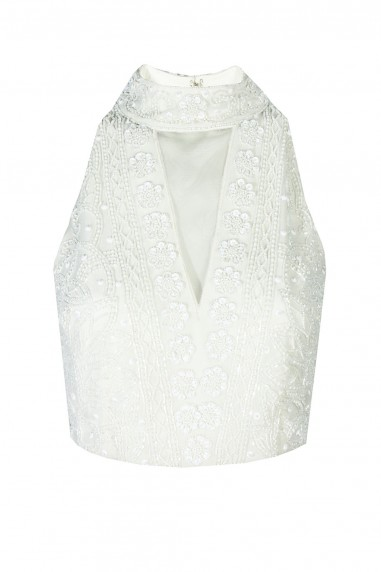 Lace & Beads Twighlight White Top