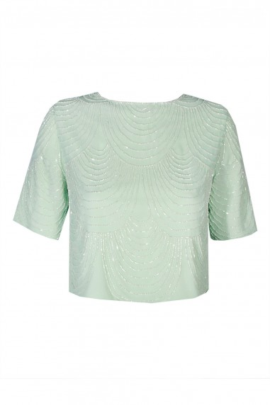 Lace & Beads Opal Mint Top
