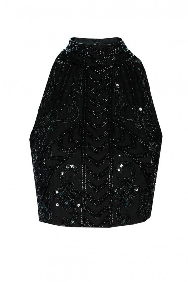 Lace & Beads Snow Black Top