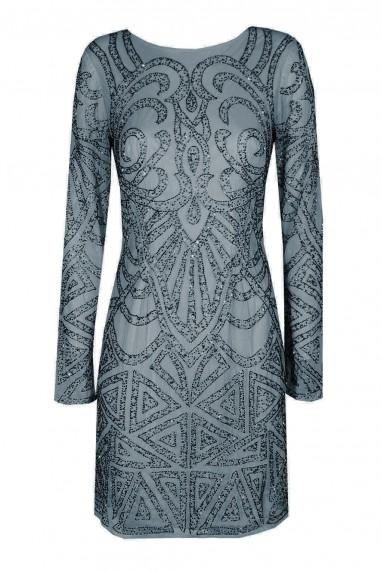 Lace & Beads Brooklyn Grey Embellished Dress