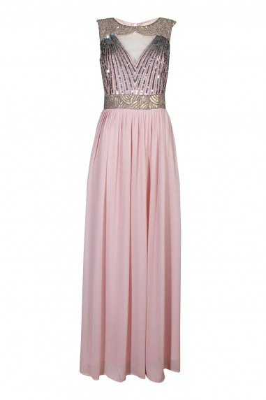 Lace & Beads Tina Pink Nude Maxi Dress