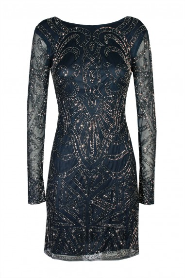 Lace & Beads Brooklyn Navy Embellished Dress