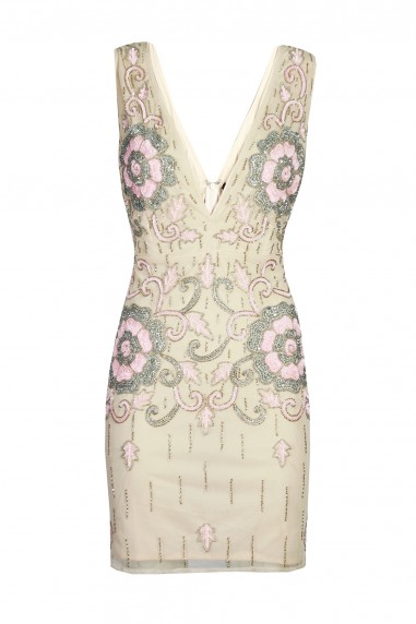 Lace & Beads Gilla Nude Mini Dress