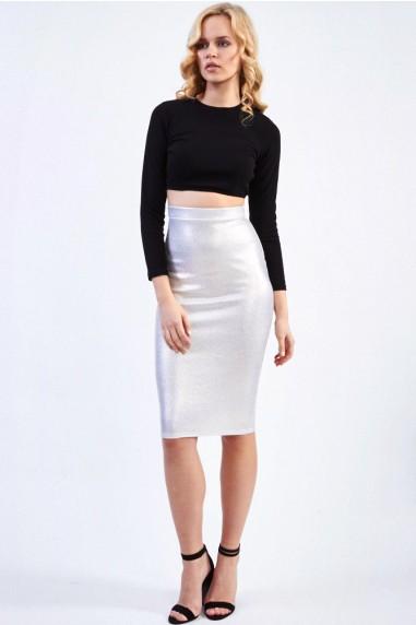 TFNC Amanda Sue Gold Midi Skirt
