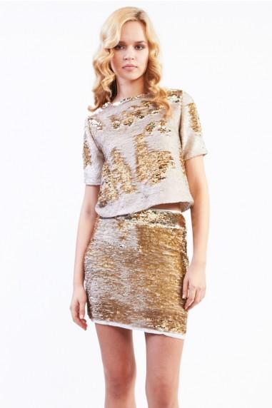 TFNC Mckenzie Two-Tone Sequin Skirt
