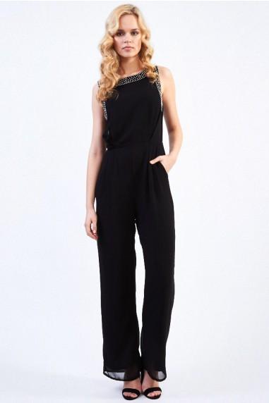 TFNC Ink Black Embellished Jumpsuit
