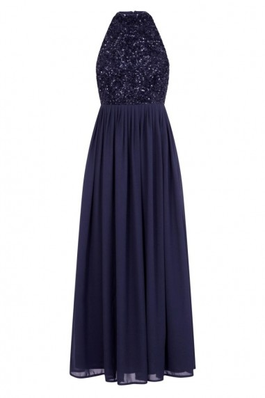 Lace & Beads Sprinkle Navy Embellished Midi Dress