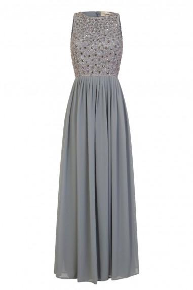 Lace & Beads Yara Embellished Grey Maxi Dress