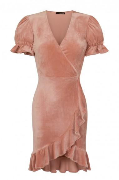 TFNC Edwina Crushed Velvet Pink Midi Dress