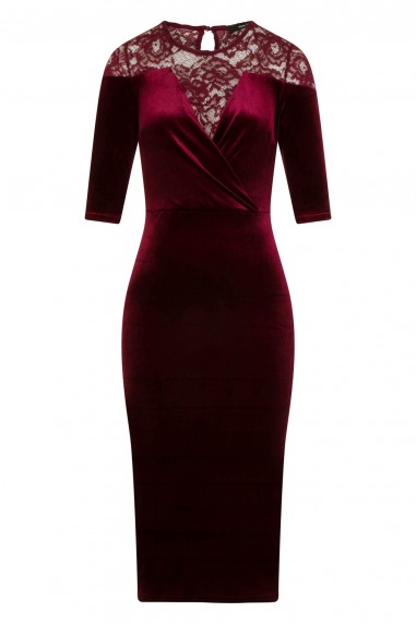 TFNC Anely Velvet Lace Burgundy Midi Dress