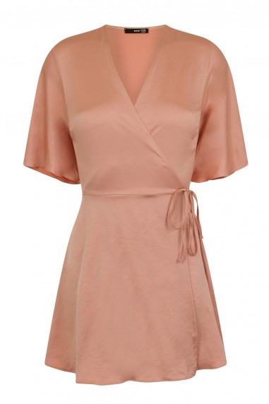 TFNC Dorysa Pink Mini Wrap Dress