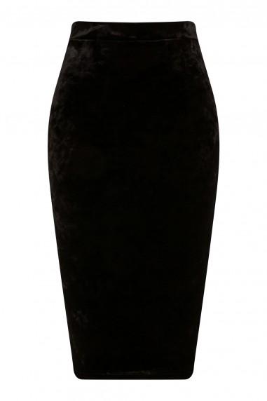 TFNC Rika Velvet Black Skirt