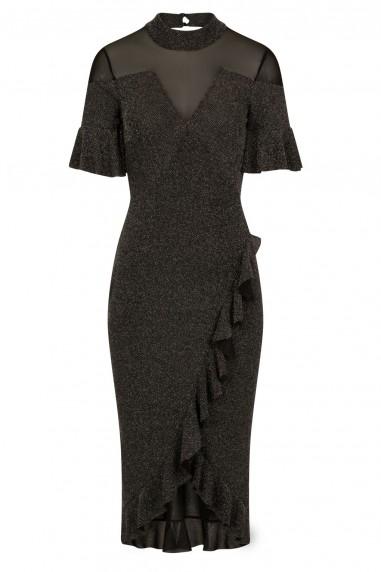 TFNC Djina Black Glitter Midi Dress