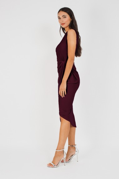 WalG Knot Tie Burgundy Dress