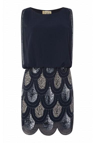 Lace & Beads Sharon Angela Navy Embellished Dress