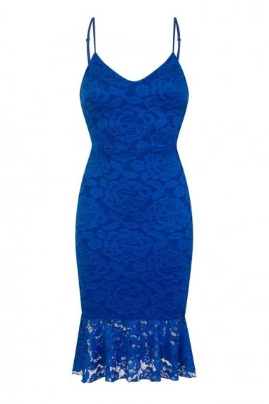 WalG Scuba Lace Blue Midi Dress
