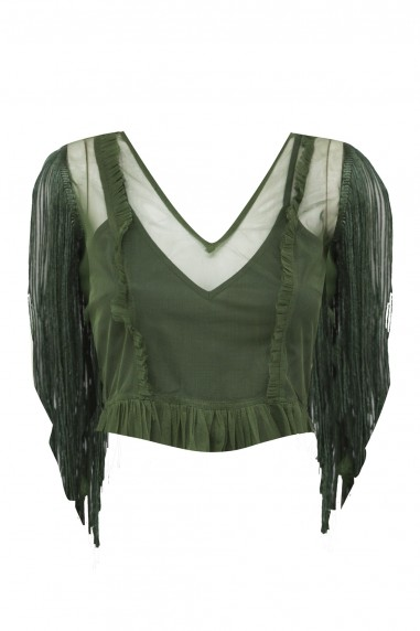 Lace & Beads Paige Olive Green Top