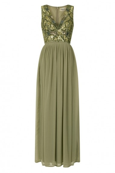 Lace & Beads Oasis Green Embellished Maxi Dress