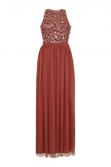 Lace & Beads Hazel Dusty Pink Maxi Dress