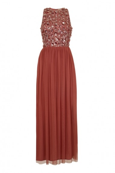 Lace & Beads Hazel Dusty Pink Maxi Dress