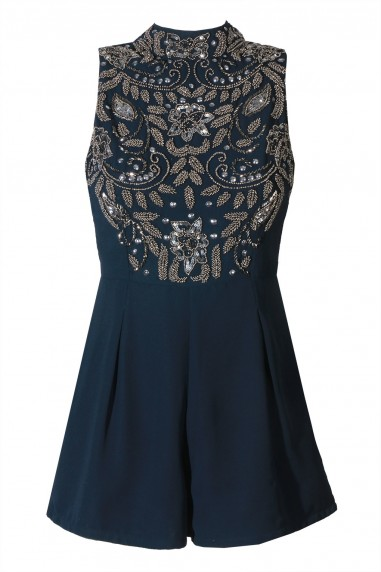 Lace & Beads Dolerin Navy Playsuit