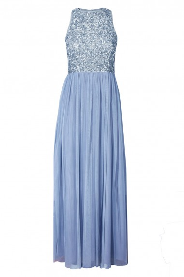Lace & Beads Picasso Blue Embellished Maxi Dress