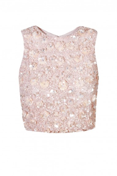 Lace & Beads Hazel Cut Out Pink Sequin Top