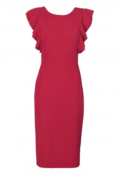 WalG Ruffle Trim Coral Midi Dress