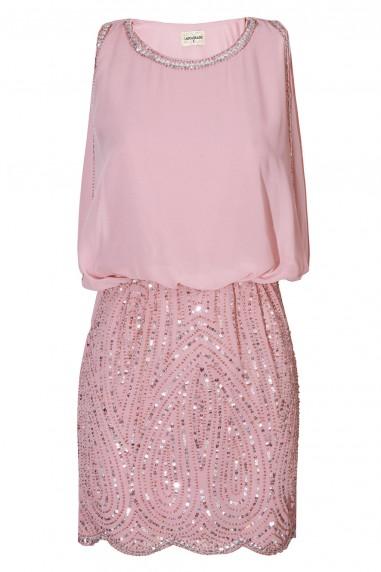 Lace & Beads Sharon Paisley Pink Embellished Dress