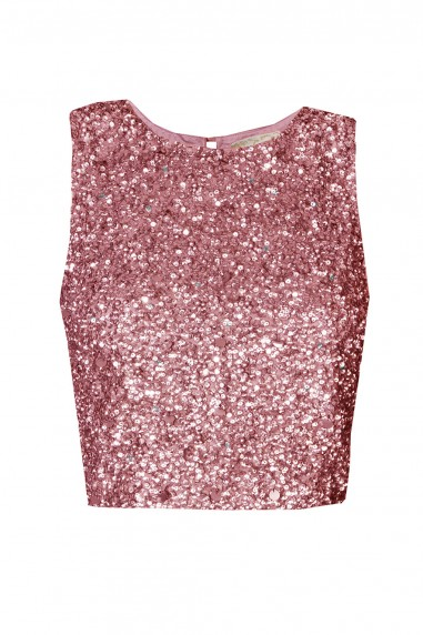 Lace & Beads Picasso Fuchia Sequin Top