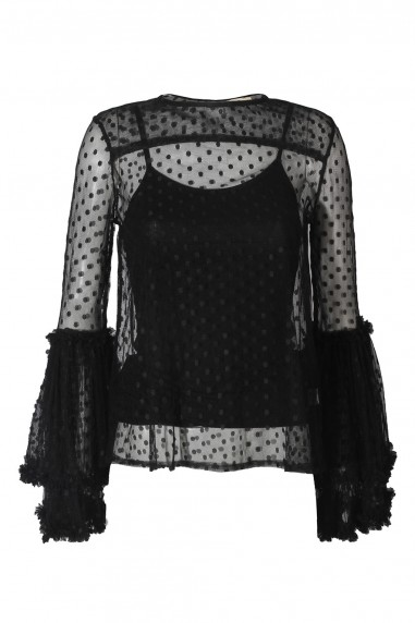 Lace & Beads Magpie Black Sheer Top