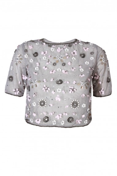 Lace & Beads Baby Grey Sheer Top