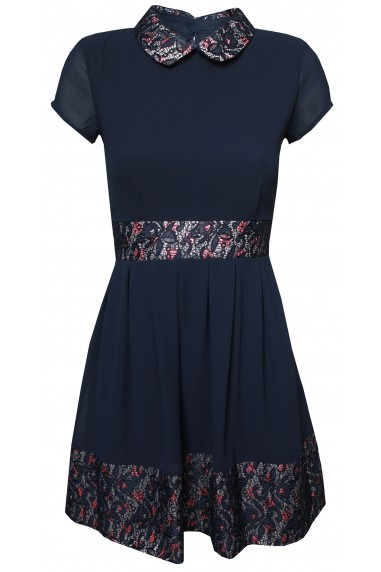WalG Floral Contrast Navy Dress